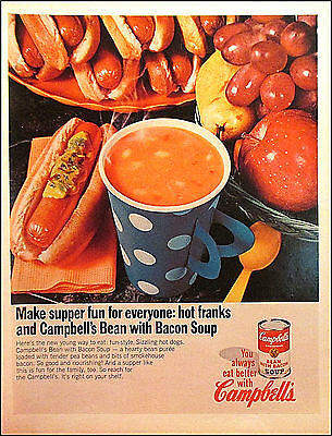 Campbell's Bean With Bacon Soup 1967 Vintage Food Original Print Ad / Advert