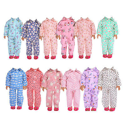 Handmade Doll Clothes Pajamas Sleepwear for 18 inch American Girl Doll Colorful