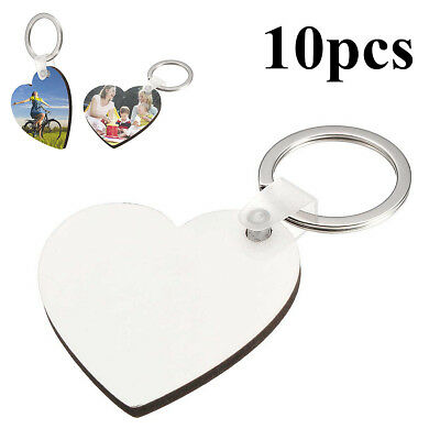 10Pcs Heart Blank MDF Board Sublimation Printing Keyrings For Heat Press Machine