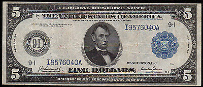 Fr 877 1914 $5 Minneapolis Glass Signature VF
