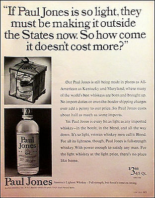 Paul Jones Whiskey 1967 Vintage Liquor Original Print Ad / Advertisement