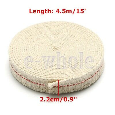 "7/8"" 2.2cm Flat Cotton Wick 15 foot roll Oil Lamp Wick and Lanterns Wick New GL"