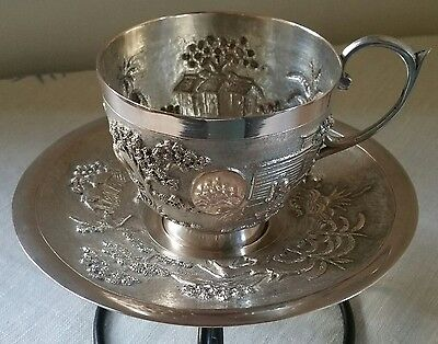 antique indian silver tea cup and matching  saucer