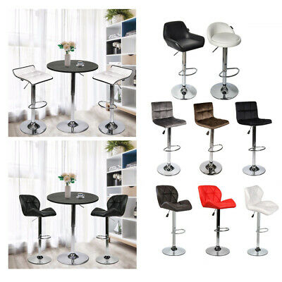 Set Of 2 Bar Stools Pu Leather Fabric Adjustable Height Swivel Pub Bistro Chair
