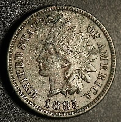 1885 INDIAN HEAD CENT With LIBERTY & DIAMONDS - XF EF Details