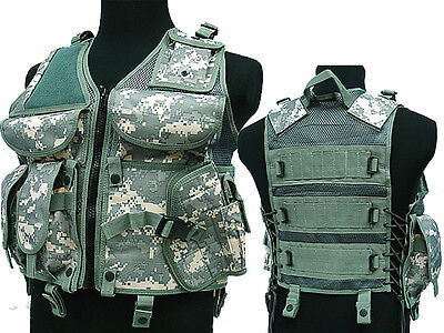 Tactical TVE Combat Vest Molle Magazine Holster Airsoft Paintball Military ACU
