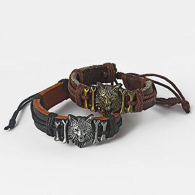 Mens Boys Real Genuine Leather Wolf Charm Surfer Bracelet Wristband Black Brown