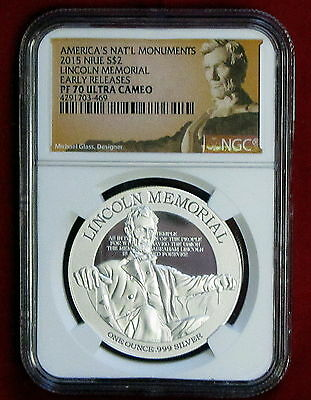 2015 Niue  Lincoln Memorial 1 oz Silver Proof $2 NGC PF70 UC Early Releases
