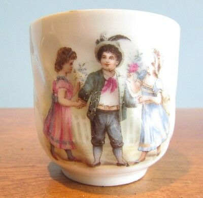 Vintage Victorian Ladies And Gentleman Tea Cup Childs/doll 2 1/2""
