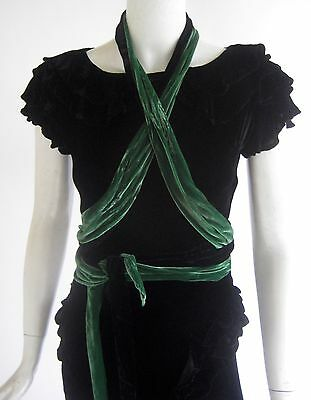 vintage 1930s art deco luxurious grecian silk velvet dress with multi sashes