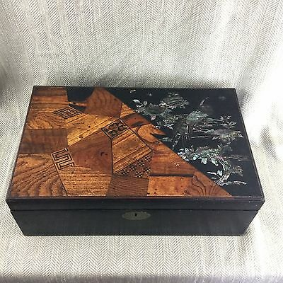 Antique Japanese Victorian Writing Slope Box Inlaid Marquetry Mother of Pearl