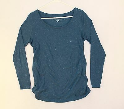 Liz Lang Maternity Scoop Neck Long Sleeve T-shirt Woman's Size M Blue Gray