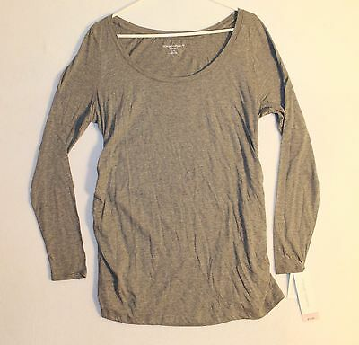 Liz Lang Maternity Scoop Neck Long Sleeve T-shirt Woman's Size L Gray
