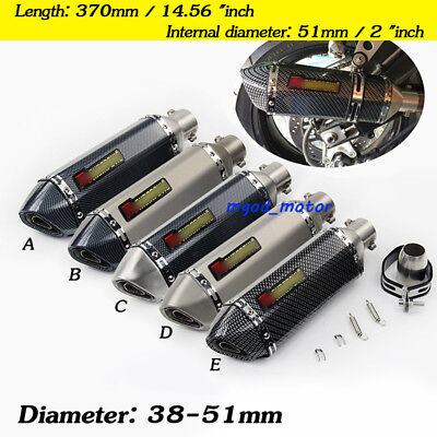 38-51mm Universal Motorcycle Exhaust Muffler Pipe Removable DB Killer Silencer