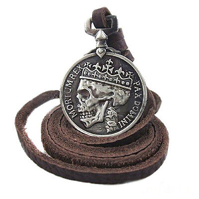 Men's charm Vintage Silver Skull pendant Alloy leather necklace