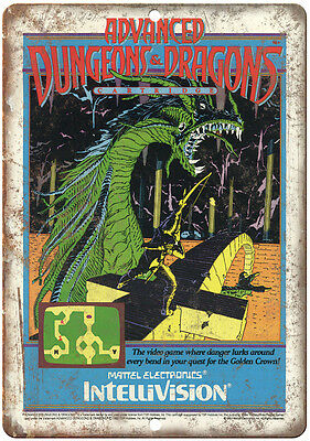 """Advanced Dungeons & Dragons Intellivision 10"""" x 7"""" reproduction metal sign"""