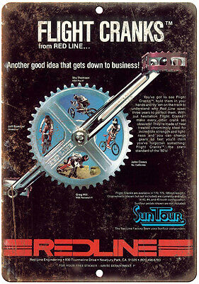 "SunTour Cranks Red Line Flight Bmx 10"" x 7"" Metal Sign Vintage Look Reproduction"
