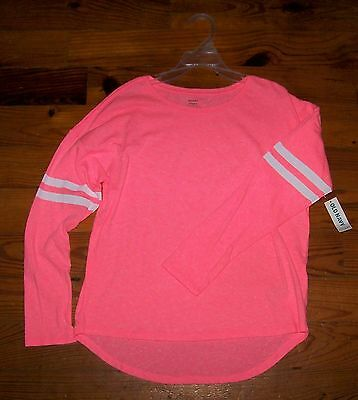 New! Girls OLD NAVY Bright Pink & White Cotton Stripe Long Sleeve Casual Shirt