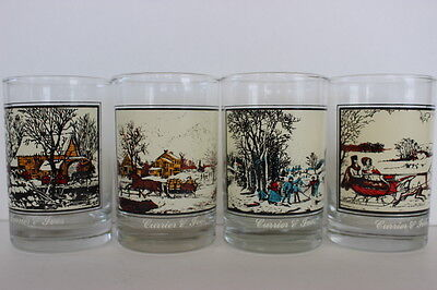 Vintage Set of 4 Arby's Currier & Ives Collector Glasses Winter Scenes 1981