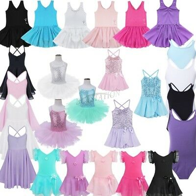 Girls Kids Ballet Tutu Leotard Dress Strappy Gymnastics Fancy Dancewear Costume