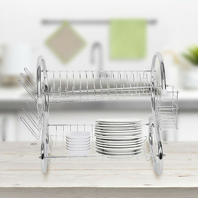 Kitchen 2 Layer Steel Dish Cup Drying Rack Drainer Tray Cutlery Holder Organiser