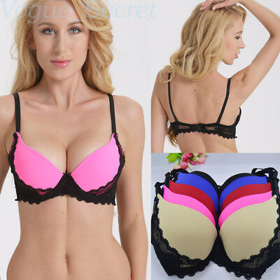 Push up Brassiere Lace Padded Underwire Lingerie 3/4 Cup Underwear 32-40 A B C D