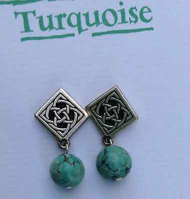 Turquoise gemstone Celtic stud earrings. Irish jewellery. Made in Ireland