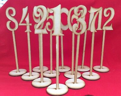 Wooden Table Stand Numbers  - Wedding Table Numbers - MDF - CRAFTS