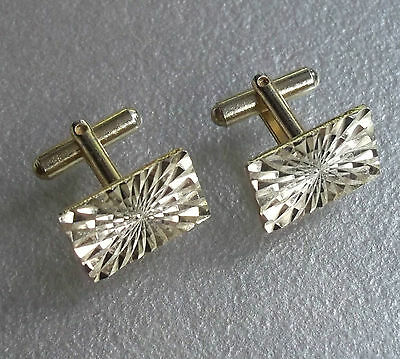VINTAGE CUFFLINKS 1960s 1970s MOD DAZZLING GOLDTONE CUT METAL RECTANGLE