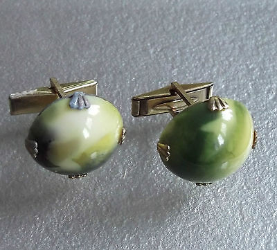 VINTAGE CUFFLINKS METAL MENS 1960s 1970s MOD MARBLED GREEN INSET FEATURE