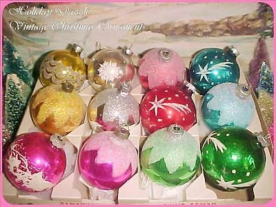 Beautiful Antique Vtg Shiny Brite Stencil Scene Frosty Glass Xmas Tree Ornaments