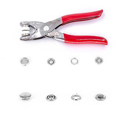 12mm Jersey Snap Poppers Fasteners Pliers Press Studs Prong Rings DIY 100 Sets
