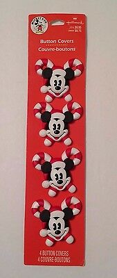 Hallmark Button Covers - Mickey Mouse Santa & Candy Canes - Set of 4 - NEW