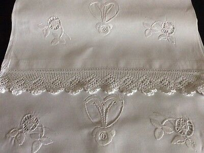 Stunning Pair Antique Irish Linen Pillowcases ~ Lace/hand Embroidered Whitework