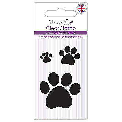 Dovecraft Clear Stamp Set of 3 Paw Prints -  Cards Scrapbooking