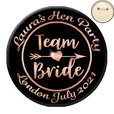 * Personalised BRIDE TRIBE PIN BADGE Button - Hen Party Night Do Bride - 58mm