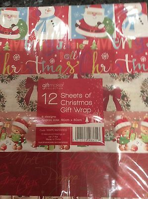 12 SHEETS CHRISTMAS WRAP  50X50 6 Designs