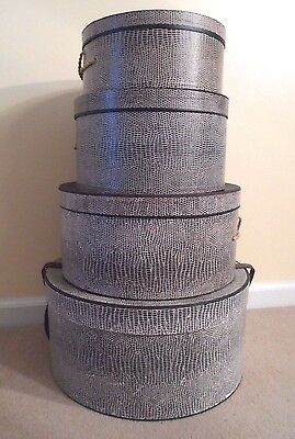 Lot of Four Nesting Vintage Snakeskin Print Hat Boxes-- Julius Garfinckel & Sons