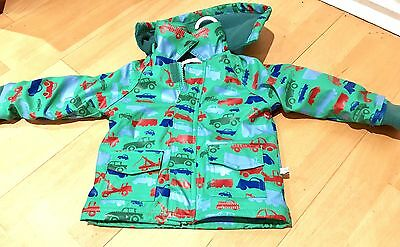 Oscar And Lily Boys Green Hooded Lined Vehicle Raincoat Jacket 9M