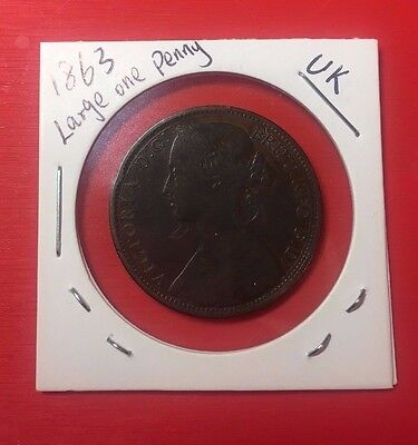 1863 UK One Penny Coin, nice details.