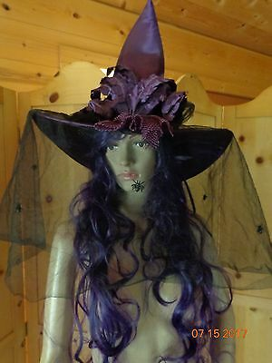 Deluxe Witches Hat Ladies Halloween Witch Fancy Dress Accessory Purple