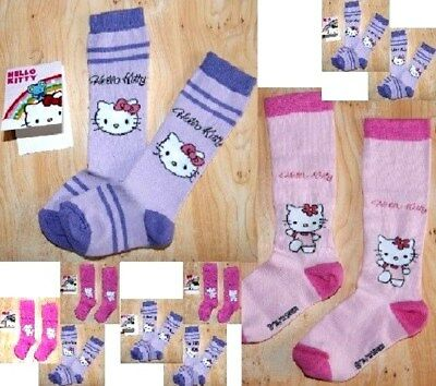 Lot 2 Ou 3 Paire De Grande Chaussette Bebe Fille Hello Kitty Neuf Violet Rose