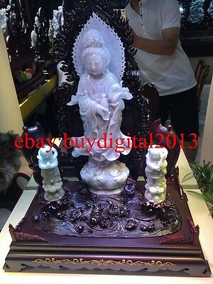 65CM Rare 100% Natural Emerald Jadeite Jade Lucky Two Tongzi Boy Kwan-Yin Statue