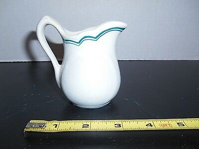 "Green White Shenango China Creamer 3 1/2"" Vintage Restaurant Ware New Castle PA"