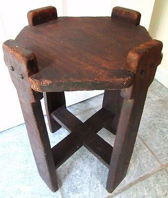 Sm Antique Mission Arts Crafts Stand Table Wood Primitive Country Stickley Era