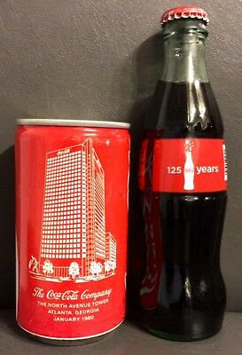Rare Coca Cola Collectable Can North Ave Tower Atlanta & 8oz bottle 125 years