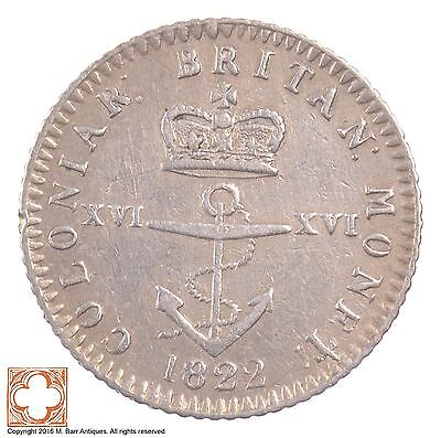 1822 British West Indies Silver 1/16 Dollar *6306