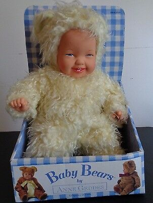 """ANNE GEDDES Baby Bears 1997 Plush Doll VINTAGE In Box FREE SHIPPIPING 14"""""""