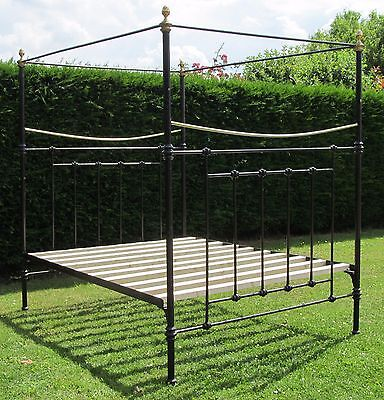 Victorian Brass and iron King Size ( 5 feet wide ) Double Bed with Wood Base