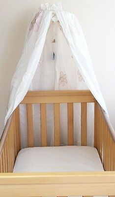 Cot Canopy Drape Baby White Girl Linen Horse Noukie's Floral Embroidered